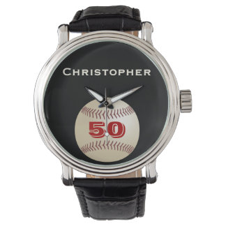 50th Birthday Wrist Watch, Personalized, Baseball Watch
