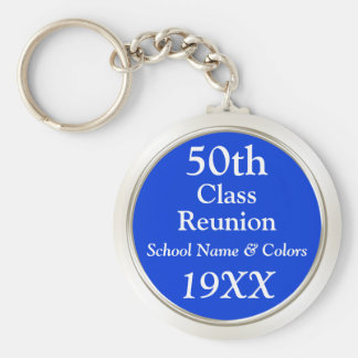 50th Class Reunion Gift Ideas, Your Text, Colors Key Ring