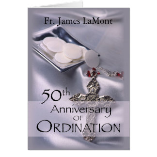50th Custom Name Ordination Anniversary Silver Cha Card