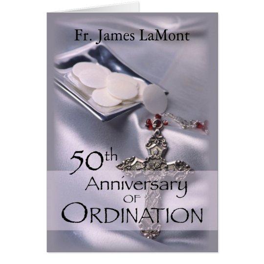 50th Custom Name Ordination Anniversary Silver Cha Card