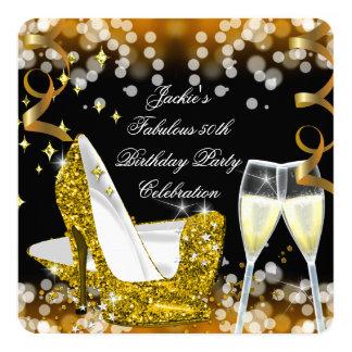 50th Fabulous Gold Glitter High Heels Birthday 13 Cm X 13 Cm Square Invitation Card