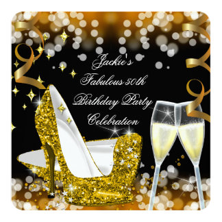 50th Fabulous Gold Glitter High Heels Birthday Custom Announcements