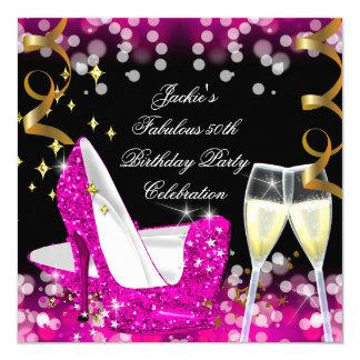 50th Fabulous Hot Pink Glitter High Heel Birthday 13 Cm X 13 Cm Square Invitation Card