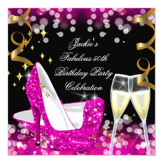50th Fabulous Hot Pink Glitter High Heel Birthday Card