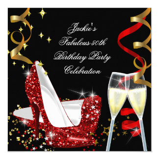 50th Fabulous Red Glitter High Heel Birthday 13 Cm X 13 Cm Square Invitation Card
