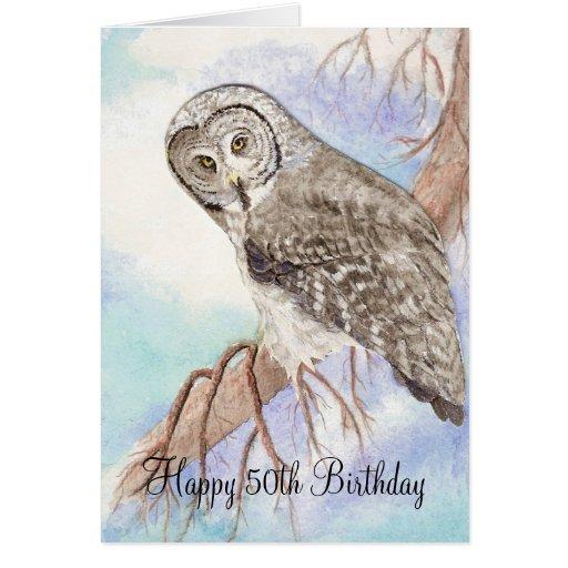 50th Funny Birthday Owl Greeting Cards