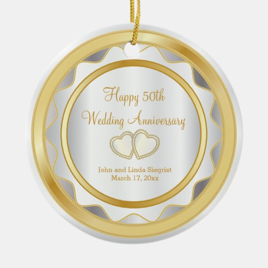 50th Gold and White Wedding Anniversary Christmas Ornament