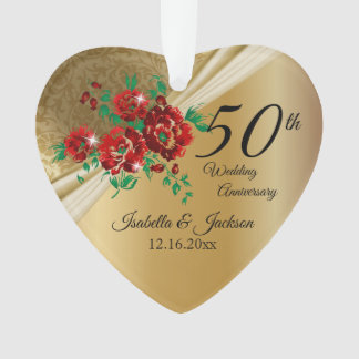 50th Gold Floral Wedding Anniversary Ornament