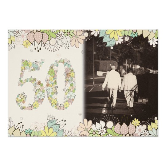 50th GOLD Golden Wedding Anniversary Photo Invite