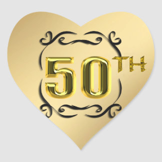 50th Gold Heart Seals And Stickers