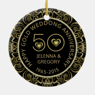 50th Gold Wedding Anniversary Black & Gold Glitter Christmas Ornament