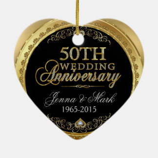 50th Gold Wedding Anniversary Christmas Ornament