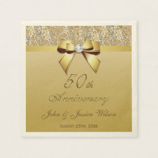 50th Gold Wedding Anniversary Disposable Serviette