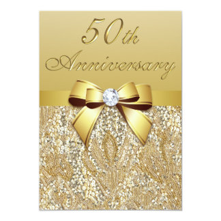 50th Gold Wedding Anniversary Faux Sequins and Bow 13 Cm X 18 Cm Invitation Card