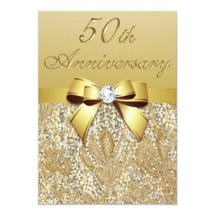 50th wedding anniversary invitations announcements zazzle uk 50th gold wedding anniversary faux sequins and bow invitation stopboris Image collections