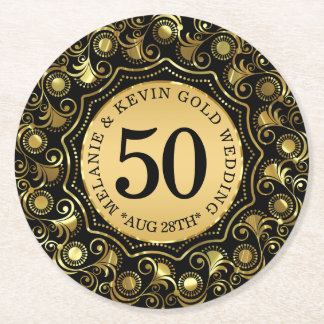 50th Gold Wedding Anniversary Gold Circle Frame Round Paper Coaster