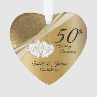 50th Gold Wedding Anniversary Keepsake Design Ornament