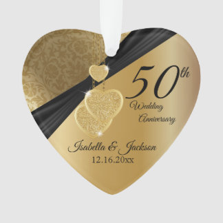 50th Gold Wedding Anniversary Keepsake Design Ornament