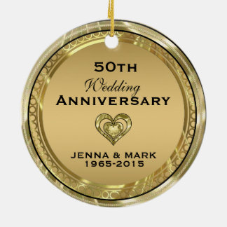 50th Gold Wedding Anniversary Ornament