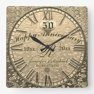 50th Gold Wedding Anniversary Vintage Antique Square Wall Clock