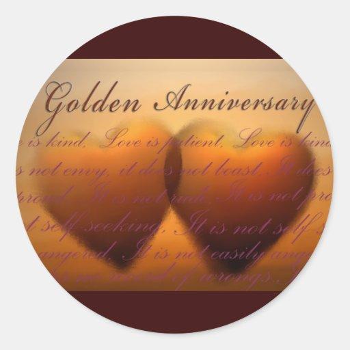 50th Golden Anniversary heart design Round Sticker