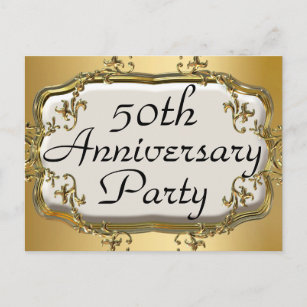 50th anniversary party postcards zazzle uk 50th golden anniversary party invitation postcards stopboris Images