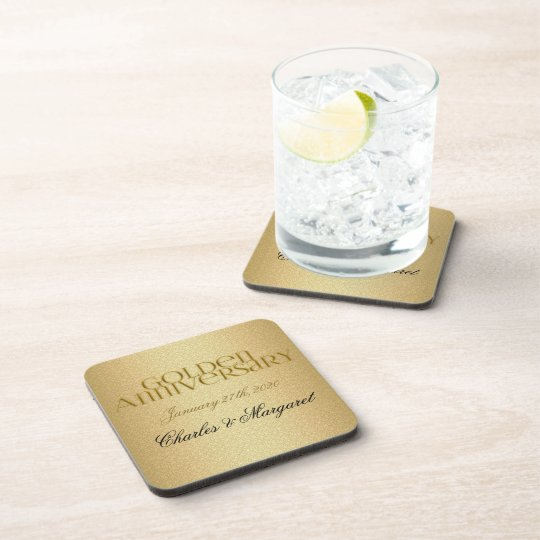 50th Golden Anniversary Personalised Coasters