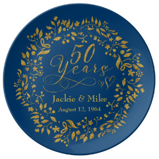 50th Golden Anniversary Personalized Gold Navy Plate