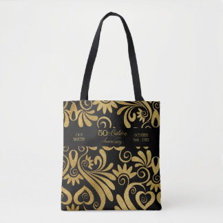 50th Golden Anniversary Typography Gold and Black Tote Bag