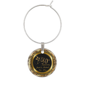50th Golden Anniversary Wedding | DIY Name & Date Wine Charm