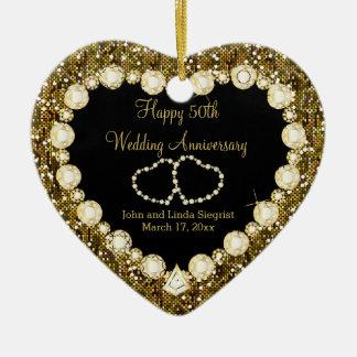 50th Golden Glitter Wedding Anniversary Ceramic Heart Decoration
