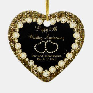 50th Golden Glitter Wedding Anniversary Christmas Ornament