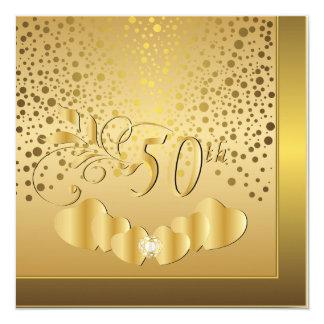 50th Golden Wedding Anniversary 13 Cm X 13 Cm Square Invitation Card