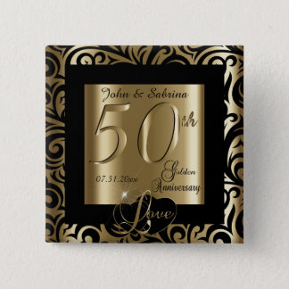 50th Golden Wedding Anniversary 15 Cm Square Badge