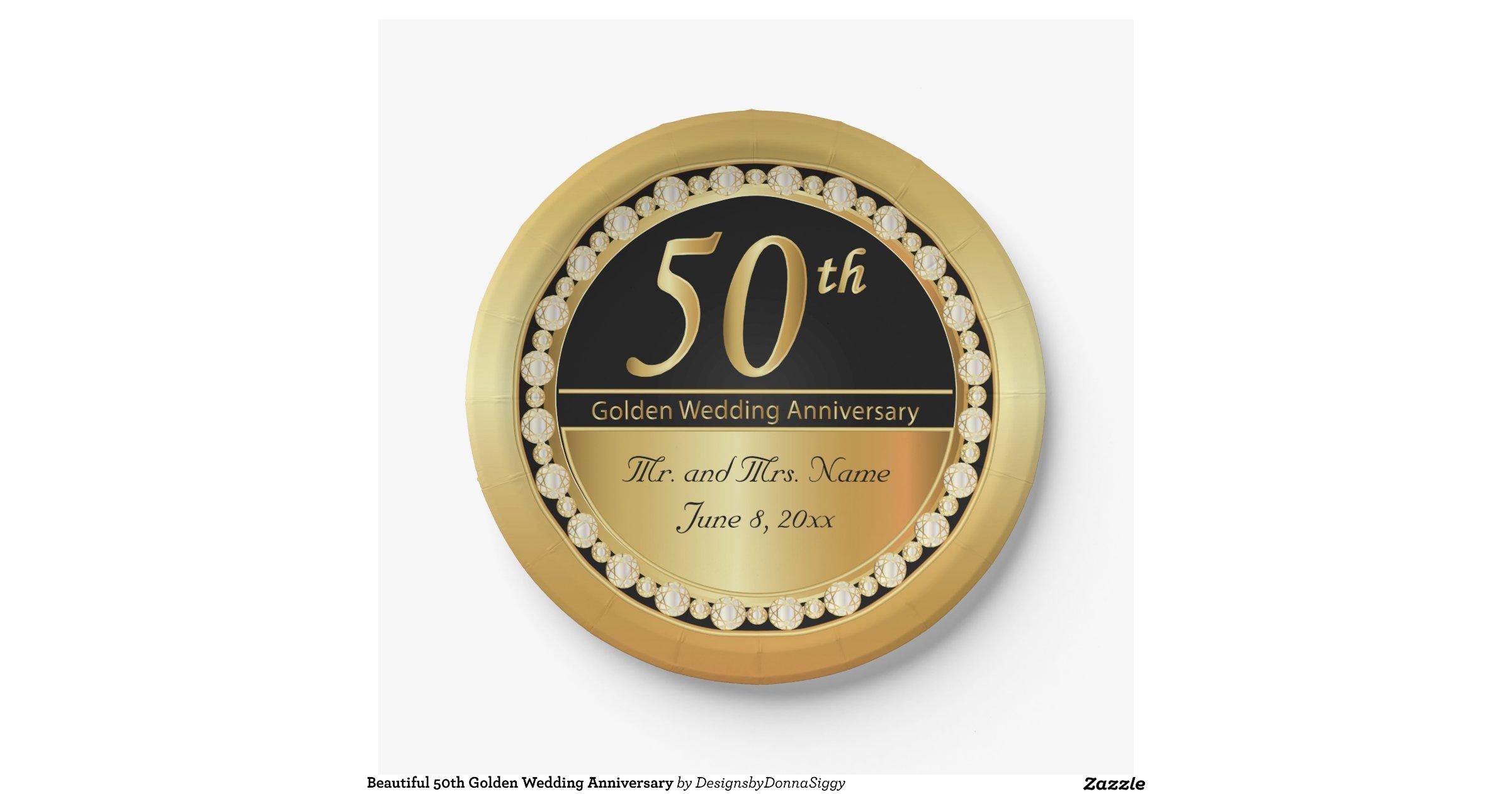 50th Golden Wedding Anniversary 7 Inch Paper Plate Zazzle
