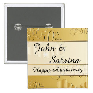 50th Golden Wedding Anniversary 15 Cm Square Badge