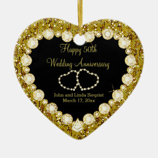 50th Golden Wedding Anniversary Christmas Ornament