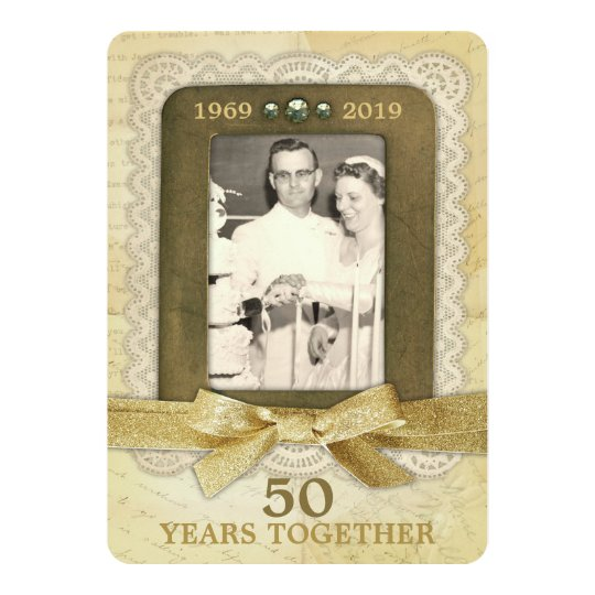 50th Golden Wedding Anniversary Collage 1 Photo Card