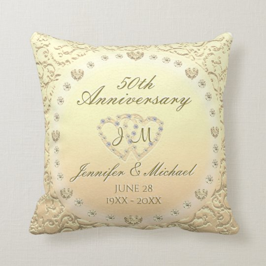 50th Golden Wedding Anniversary Cushion