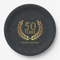 50th Golden Wedding Anniversary Custom add names Paper Plate