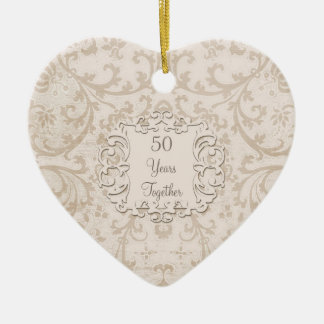 50th Golden Wedding Anniversary Custom Photo Ceramic Heart Decoration