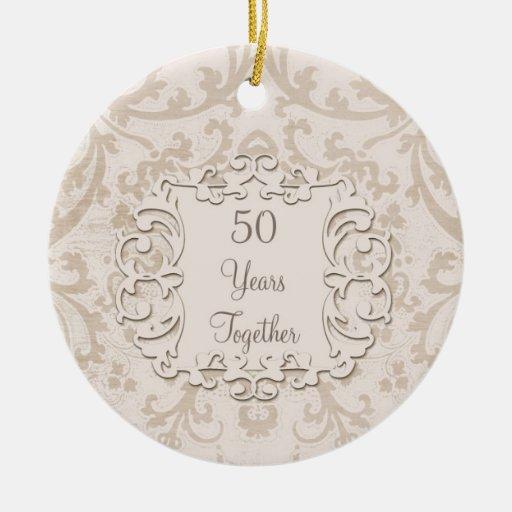 50th golden wedding anniversary custom photo zazzle for Engagement christmas tree ornaments