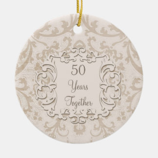 50th Golden Wedding Anniversary Custom Photo Round Ceramic Decoration