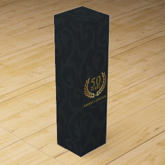 50th Golden Wedding Anniversary Customizable Wine Box