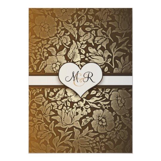 50th golden wedding anniversary damask invitations