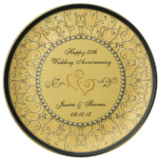 50th Golden Wedding Anniversary Decorative Plate Porcelain Plates