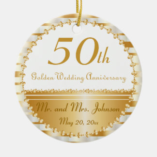 50th Golden Wedding Anniversary | DIY Name & Date Christmas Ornament