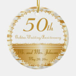 50th Golden Wedding Anniversary | DIY Name & Date Round Ceramic Decoration