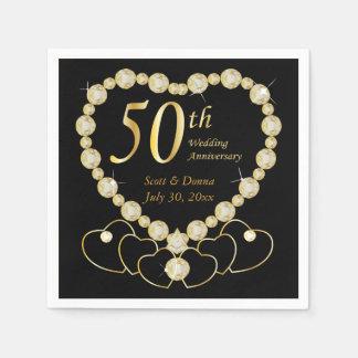 50th Golden Wedding Anniversary | DIY Text Disposable Serviette