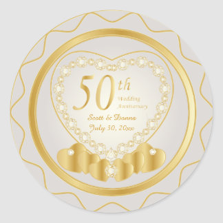 50th Golden Wedding Anniversary | DIY Text Round Sticker